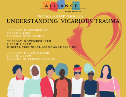 Understanding Vicarious Trauma workshop series banner with details on dates and times