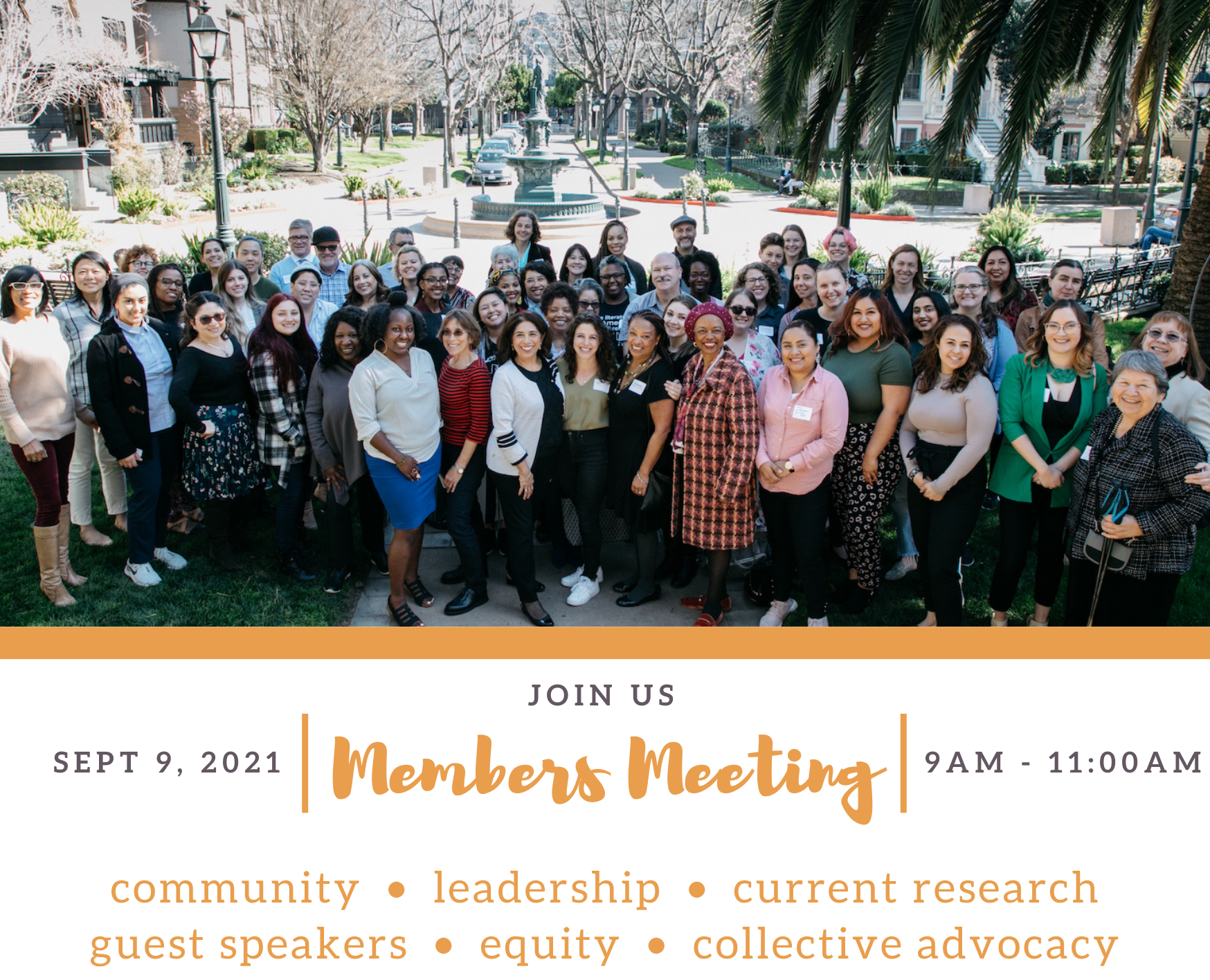Event banner for Alliance for Girls' Annual Members Meeting on Sept 9th, 9-11am. Featuring a group photo from the February 2020 members meeting.