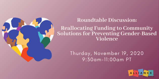 Roundtable Discussion Banner for Members re: reallocating funding to community solutions for preventing violence