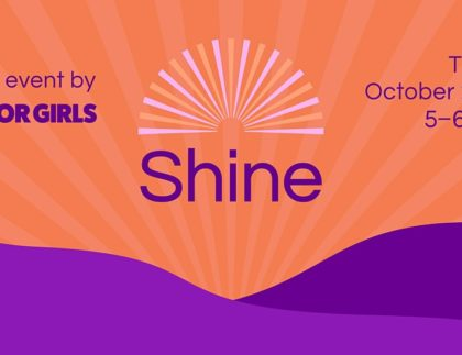 Event banner: SHINE on October 22, 5-6pm. Hosted by Oasis for Girls