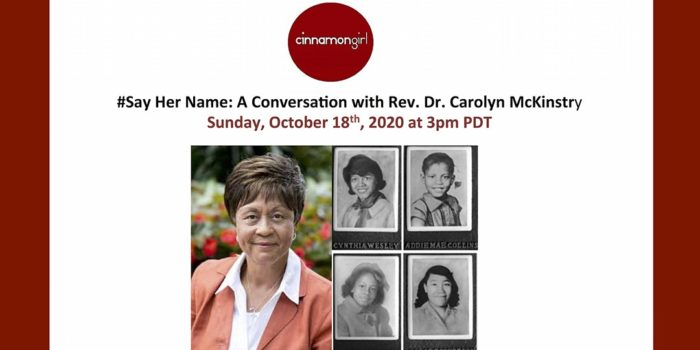 Event Banner: #SayHerName: A Conversation with Rev. Dr. Carolyn McKinstry
