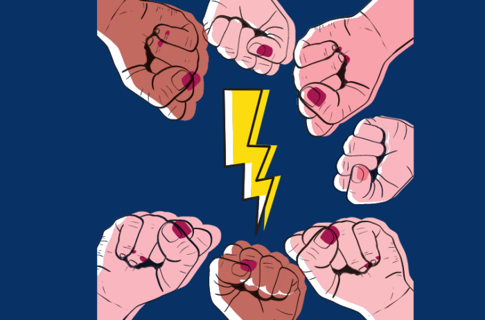 Image of fists in a circle surrounding a yellow lightning bolt